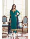 Teal Georgette Embroidered Designer Churidar Suit
