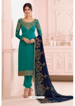Teal Georgette Embroidered Designer Straight Suit