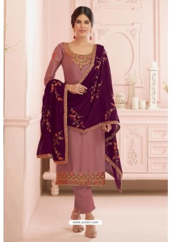 Pink Georgette Embroidered Designer Straight Suit