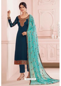 Teal Blue Georgette Embroidered Designer Straight Suit