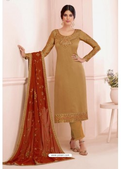 Beige Georgette Embroidered Designer Straight Suit