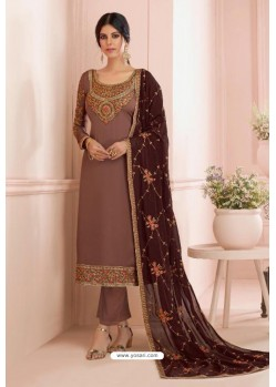 Light Brown Georgette Embroidered Designer Straight Suit