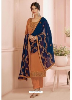 Orange Georgette Embroidered Designer Straight Suit
