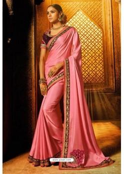 Light Pink Satin Party Wear Saree