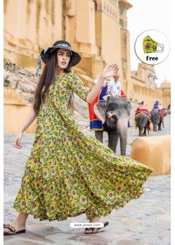Green Pure Maslin Digital Printed Gown