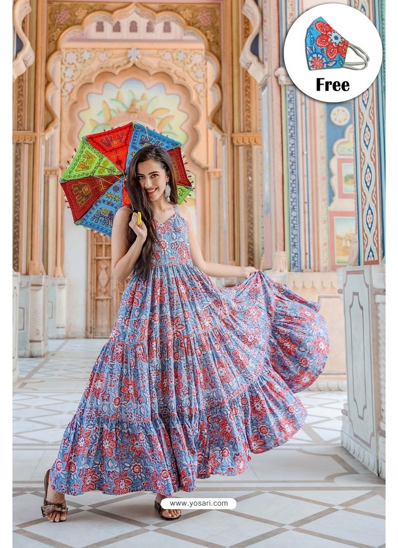 Blue Pure Maslin Digital Printed Gown