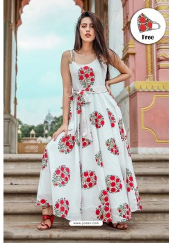 White Pure Maslin Digital Printed Gown