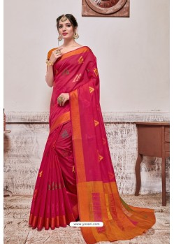 Rani Banarasi Cotton Silk Saree