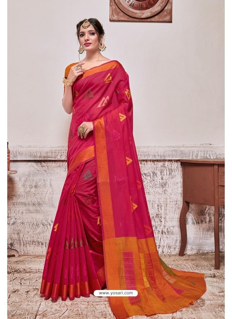 Rani Banarasi Cotton Silk Saree