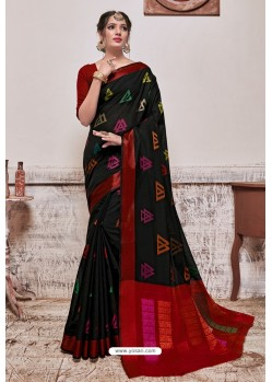 Black Banarasi Cotton Silk Saree