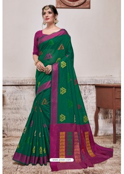 Dark Green Banarasi Cotton Silk Saree