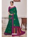 Dark Green Banarasi Cotton Silk Saree