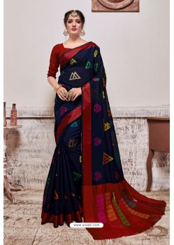 Navy Blue Banarasi Cotton Silk Saree