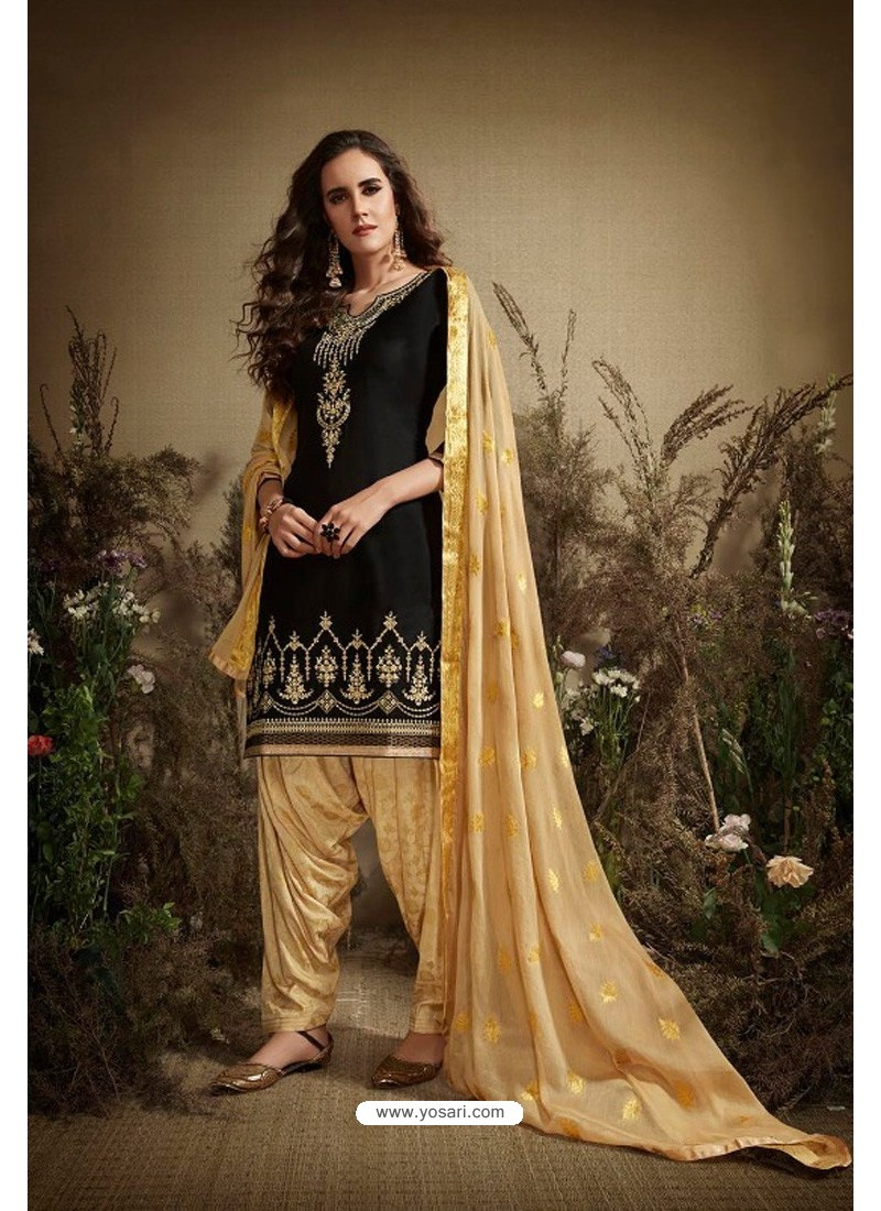 Black And Beige Cotton Zari Butti Worked Patiala Salwar Suit