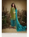 Green And Blue Cotton Zari Butti Worked Patiala Salwar Suit
