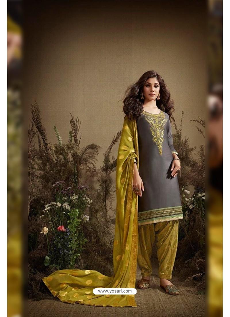 Grey And Corn Cotton Zari Butti Worked Patiala Salwar Suit