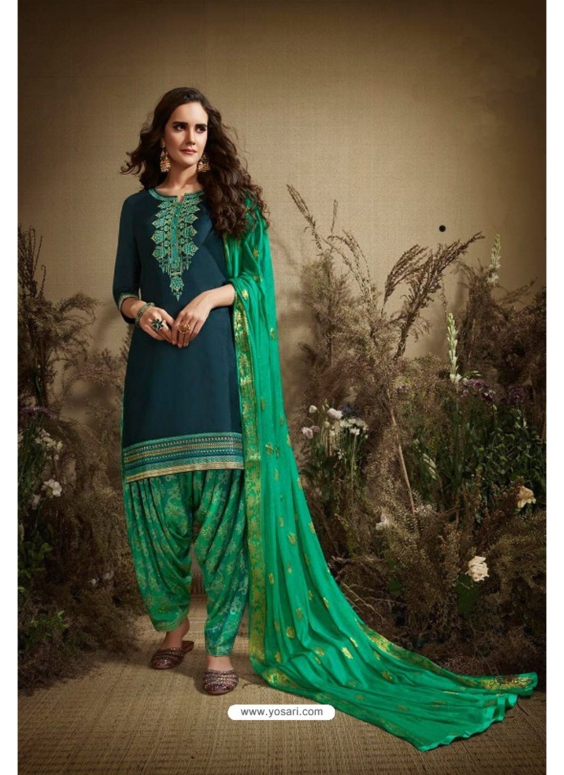 Navy And Mint Cotton Zari Butti Worked Patiala Salwar Suit