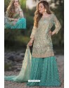 Aqua Mint And Green Heavy Net Stone Work Palazzo Suit