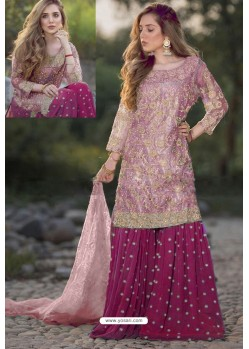 Medium Violet And Pink Heavy Net Stone Work Palazzo Suit