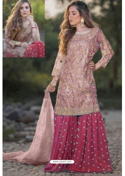 Rose Red And Peach Heavy Net Stone Work Palazzo Suit