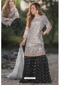 Black And Grey Heavy Net Stone Work Palazzo Suit