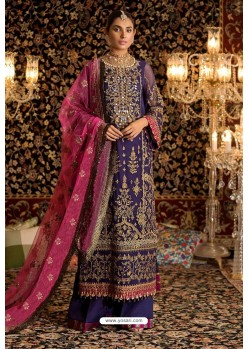 Violet Faux Georgette Party Wear Suit