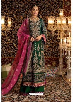 Dark Green Faux Georgette Party Wear Suit