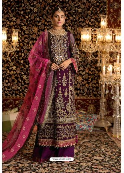 Purple Faux Georgette Party Wear Suit