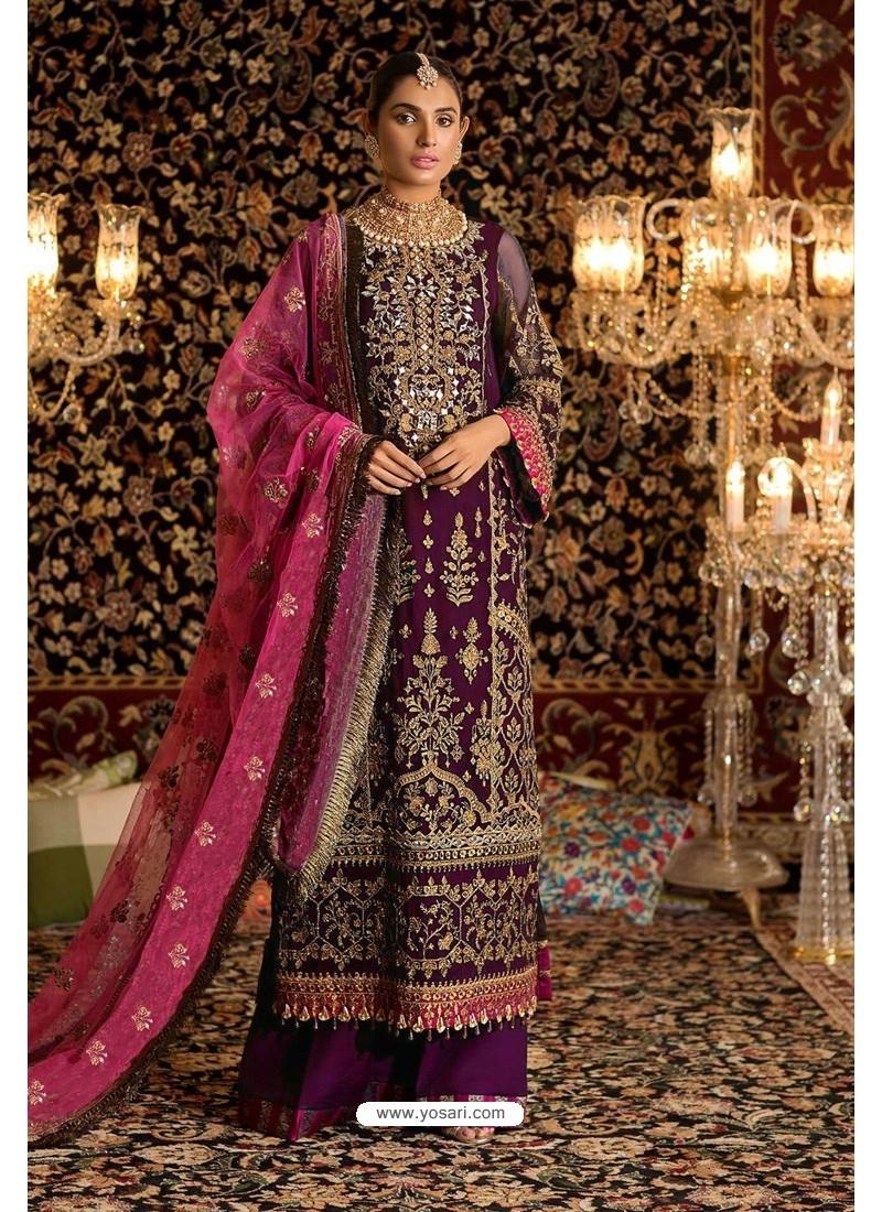 Purple Faux Georgette Party Wear Suit