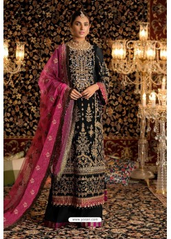 Black Faux Georgette Party Wear Suit