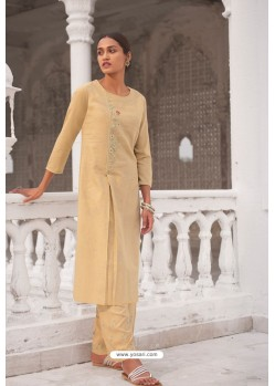 Light Yellow Linen Cotton Handworked Suit