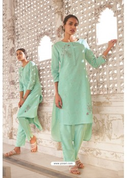Aqua Mint Linen Cotton Handworked Suit