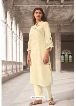 Cream Linen Cotton Handworked Suit