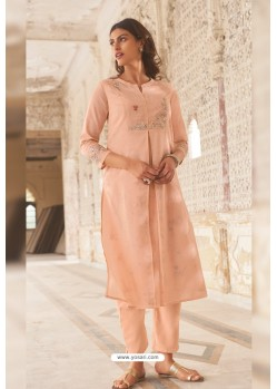 Pink Linen Cotton Handworked Suit
