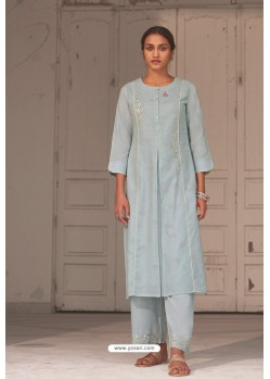 Sky Blue Linen Cotton Handworked Suit
