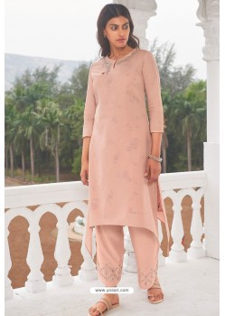 Peach Linen Cotton Handworked Suit