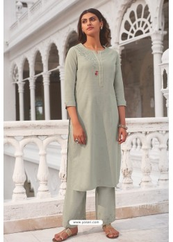 Taupe Linen Cotton Handworked Suit