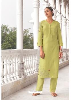 Lemon Linen Cotton Handworked Suit