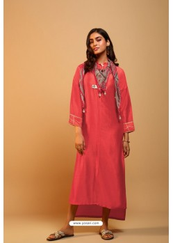 Red Naisa Silk Readymade Kurti With Scarf