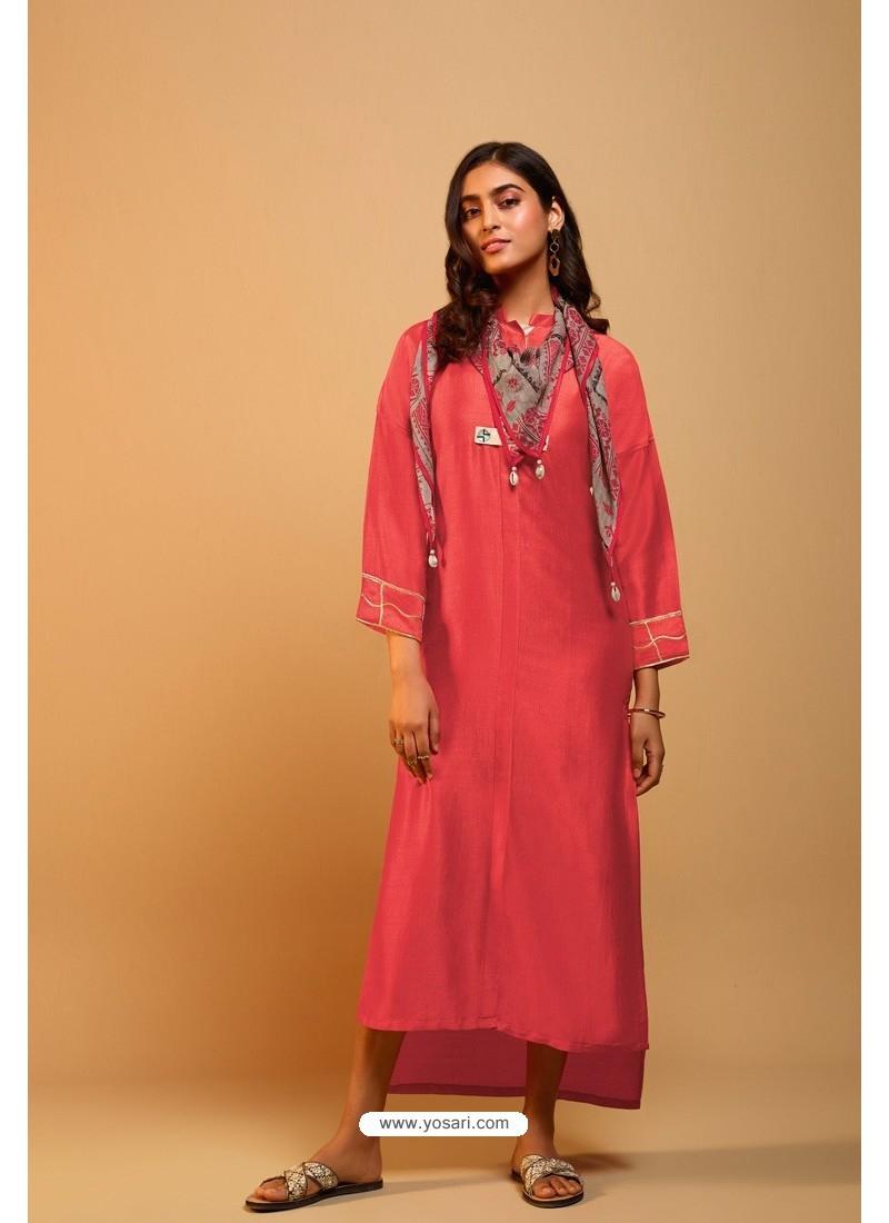 Red Naisa Silk Readymade Kurti With Scarf