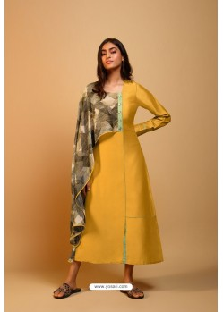 Yellow Naisa Silk Readymade Kurti With Scarf