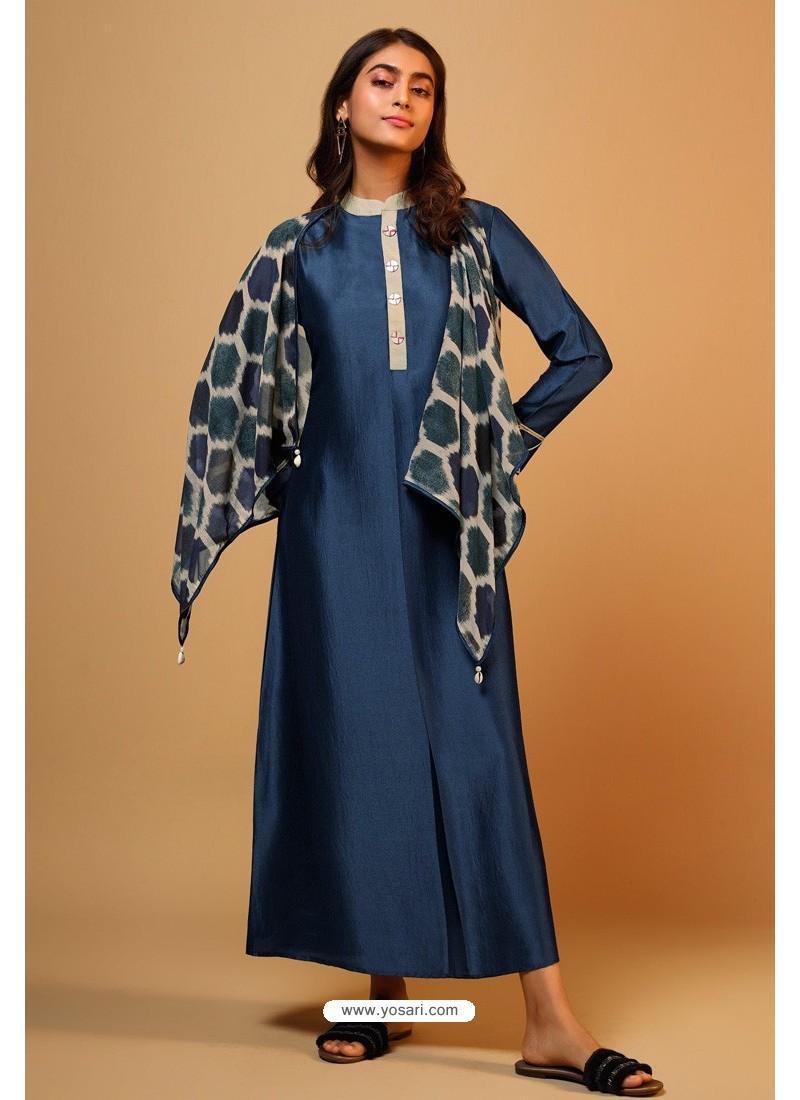 Navy Blue Naisa Silk Readymade Kurti With Scarf