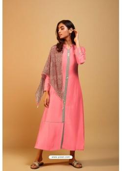 Pink Naisa Silk Readymade Kurti With Scarf