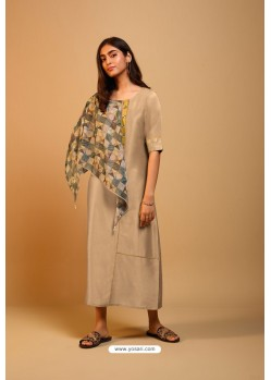 Beige Naisa Silk Readymade Kurti With Scarf