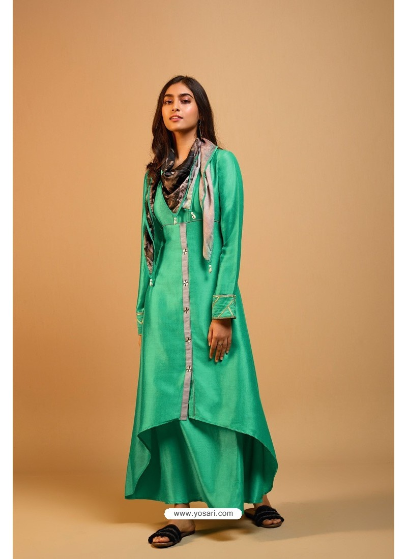 Jade Green Naisa Silk Readymade Kurti With Scarf