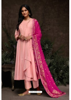 Pink Aaria Silk Banarasi Jacquard Straight Suit