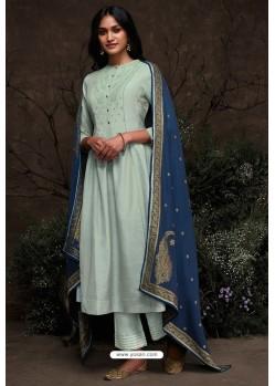 Sky Blue Aaria Silk Banarasi Jacquard Straight Suit