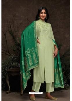 Sea Green Aaria Silk Banarasi Jacquard Straight Suit