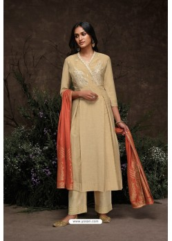 Beige Aaria Silk Banarasi Jacquard Straight Suit