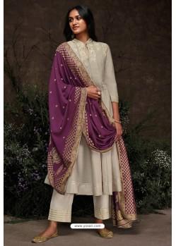 Taupe Aaria Silk Banarasi Jacquard Straight Suit
